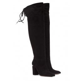 Over-the-knee high block heel boots in black suede Pura López