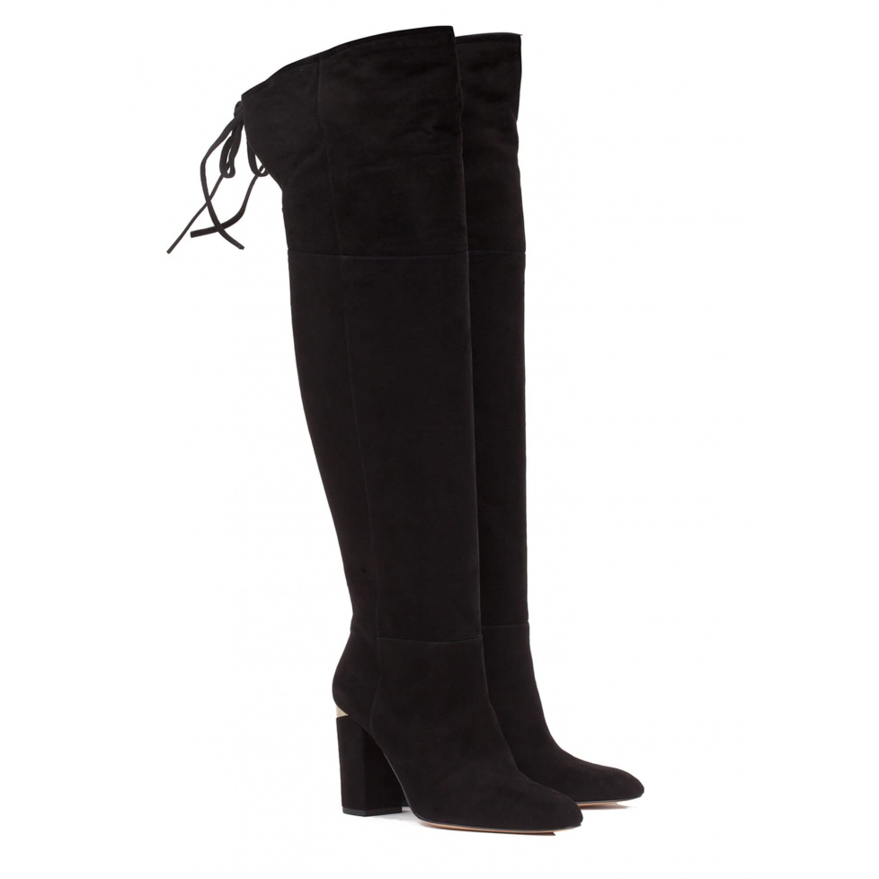 Black over-the-knee heeled boots - online shoe store Pura Lopez