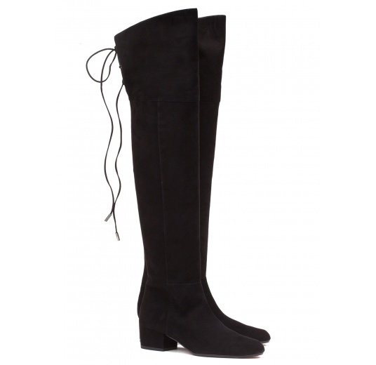 Over-the-knee low heel boots in black suede Pura L�pez