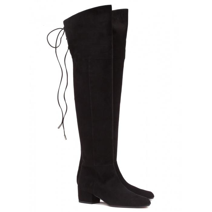 Low heel boot in black suede - online shoe store Pura Lopez