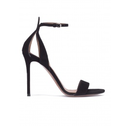 Black suede sandals with ankle strap Pura López