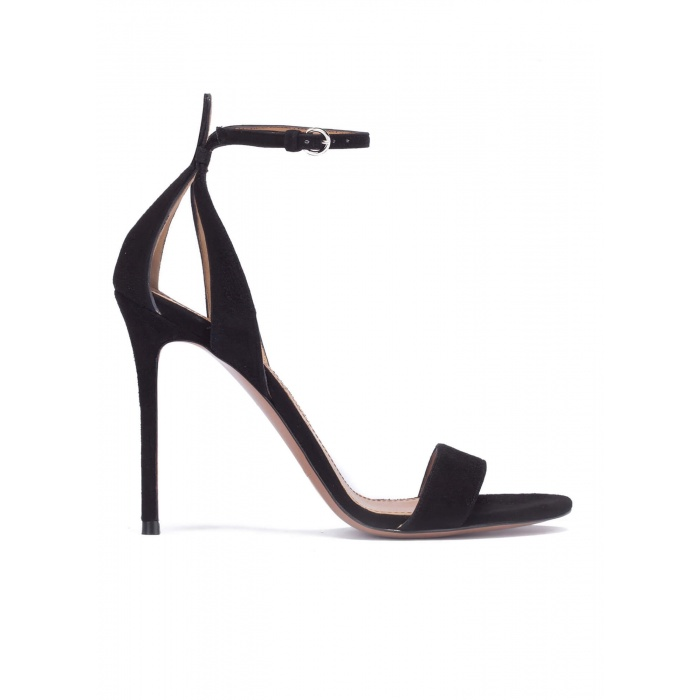 Black suede sandals with ankle strap