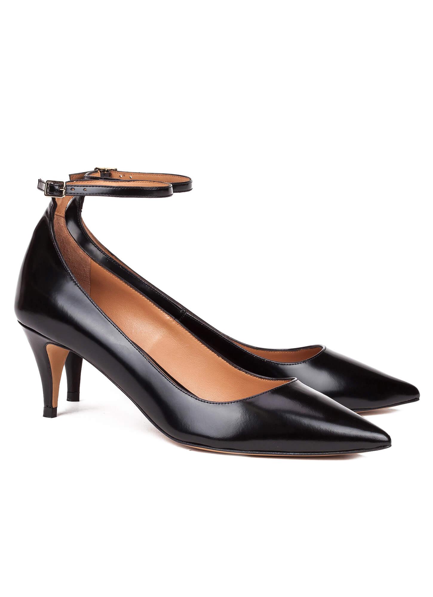86e04e27352 Black ankle strap mid heel pumps - online shoe store Pura Lopez ...