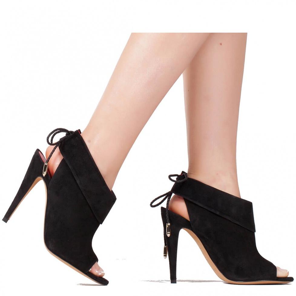 High heel sandals in black suede - online shoe store Pura Lopez