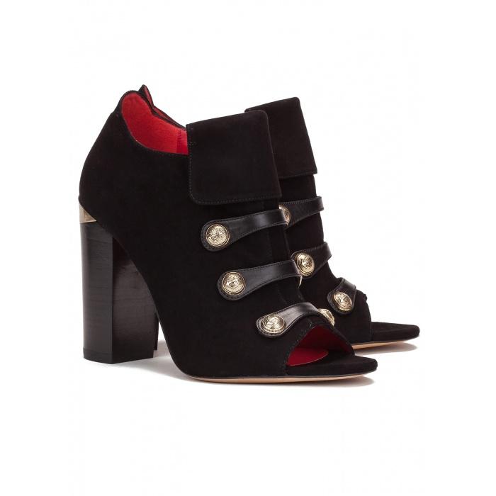 Block heel ankle boot in black suede - online shoe store Pura Lopez