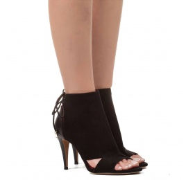 Cutout high heel sandals in black suede Pura López