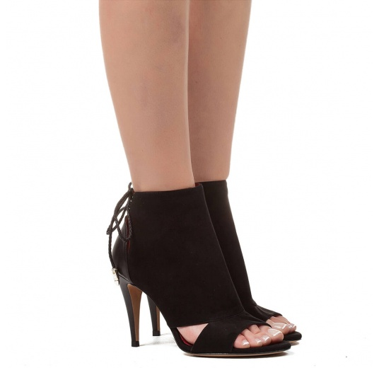 Cutout high heel sandals in black suede Pura L�pez