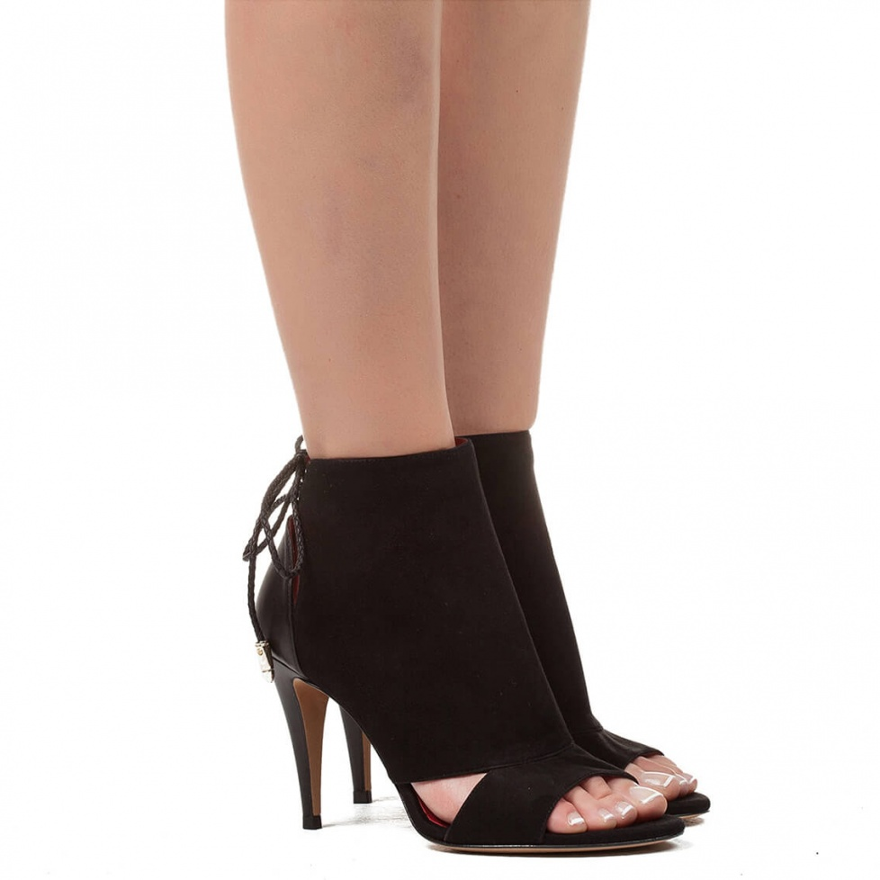 High heel sandals in black suede - online shoe store Pura Lopez