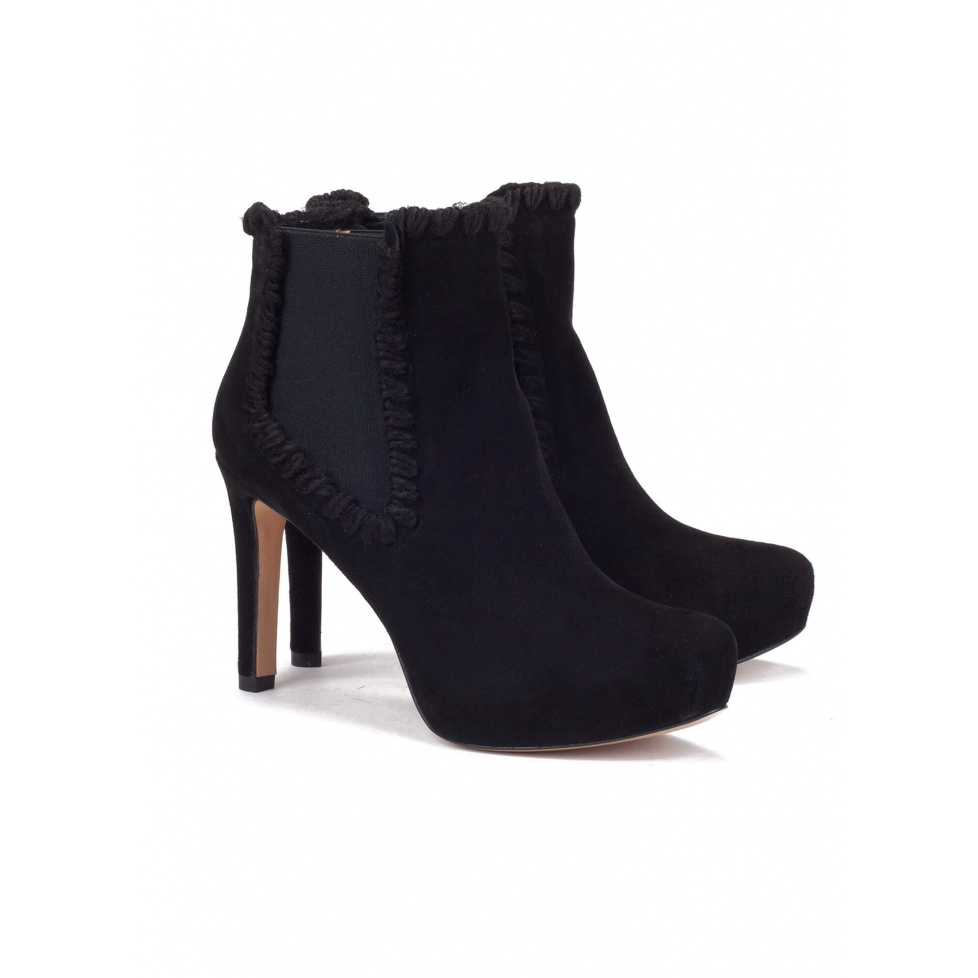 Mid heel ankle boots in black suede - online shoe store Pura Lopez