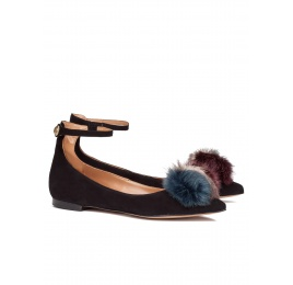 Pompom-embellished point-toe flats in black suede Pura López