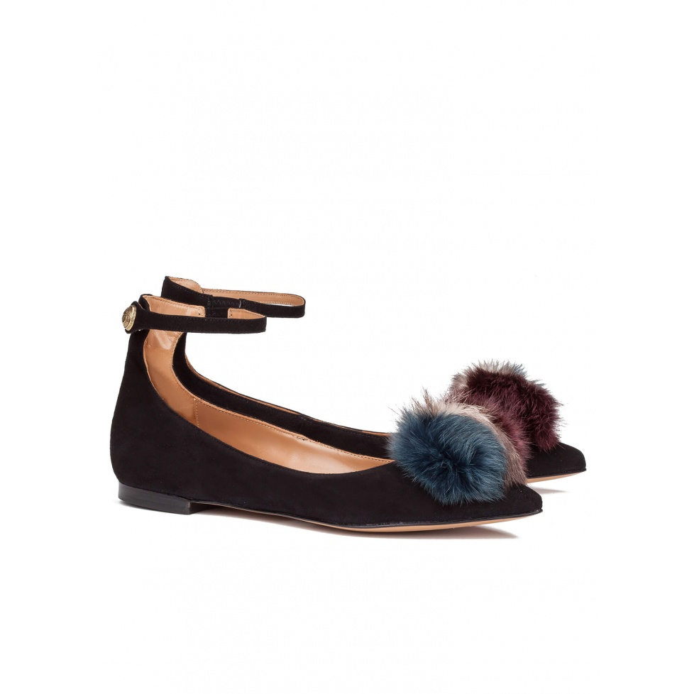 Black pompom point toe flats - online shoe store Pura Lopez