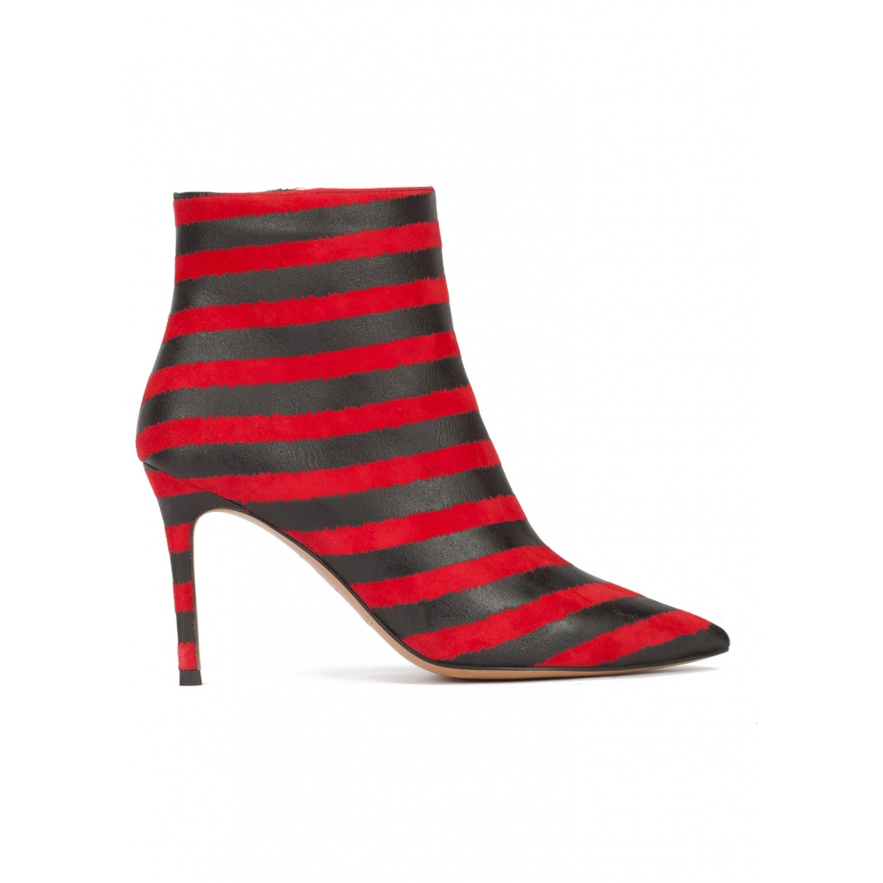 Red-black striped high heel pointy toe ankle boots