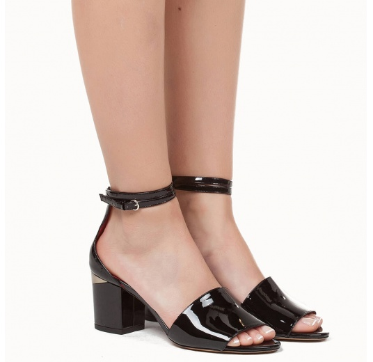 Ankle strap mid block heel sandals in black patent leather Pura López