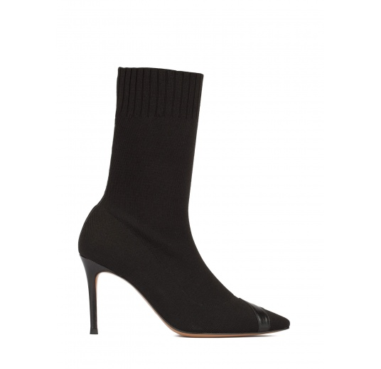 Black ribbed-knit high heel point-toe ankle boots Pura L�pez