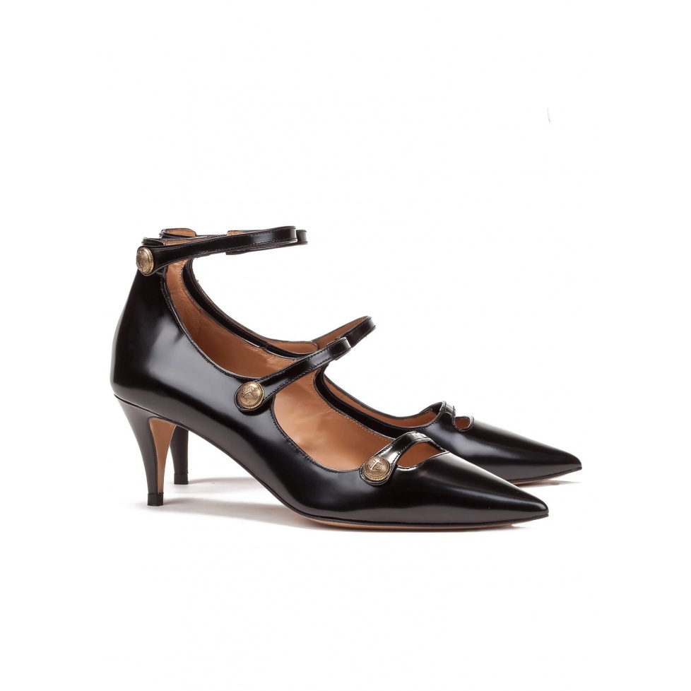 Black leather mid heel shoes - online shoe store Pura Lopez