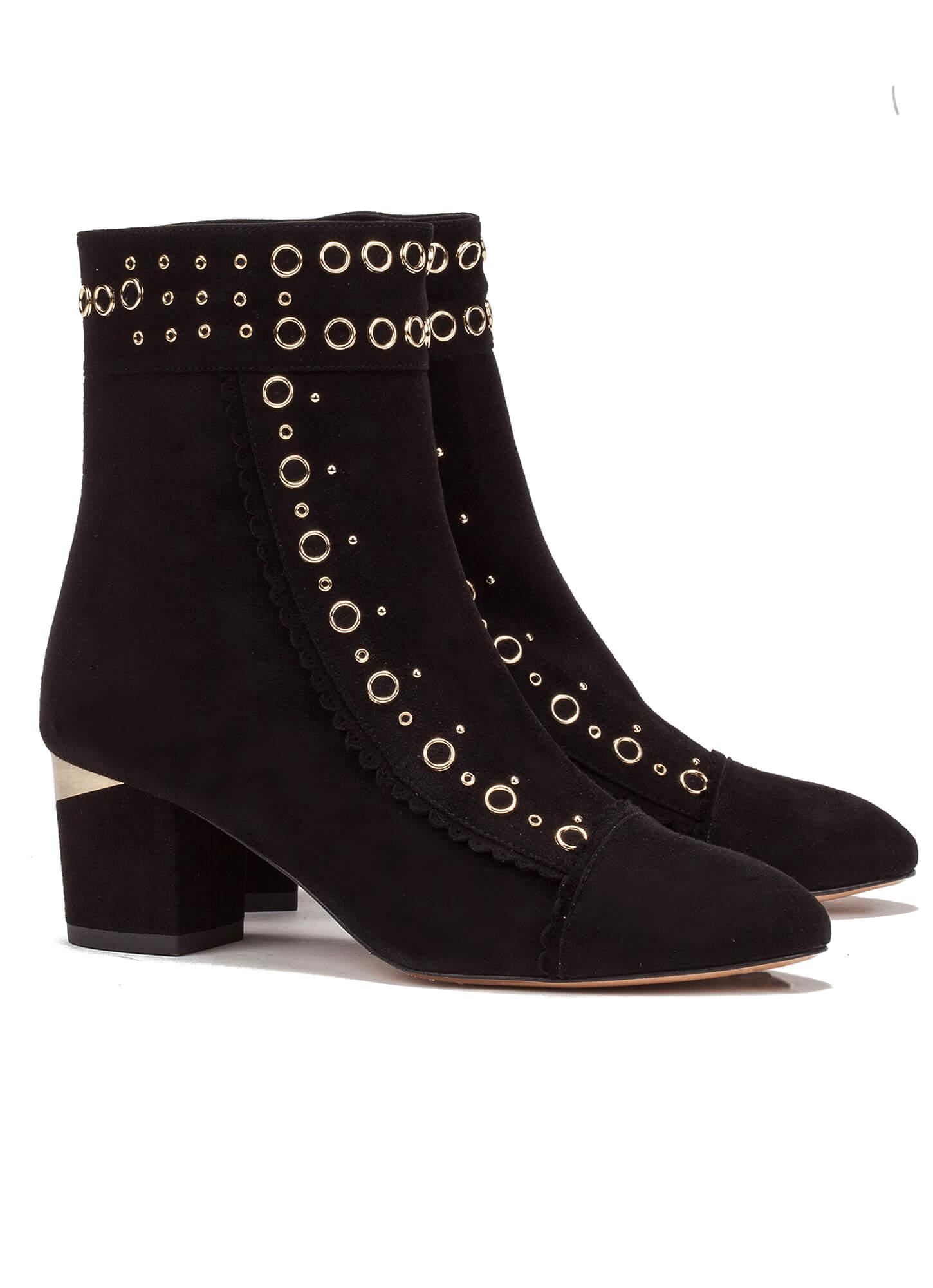 24d30e3927bd0 Mid heel ankle boot in black suede - online shoe store Pura Lopez ...