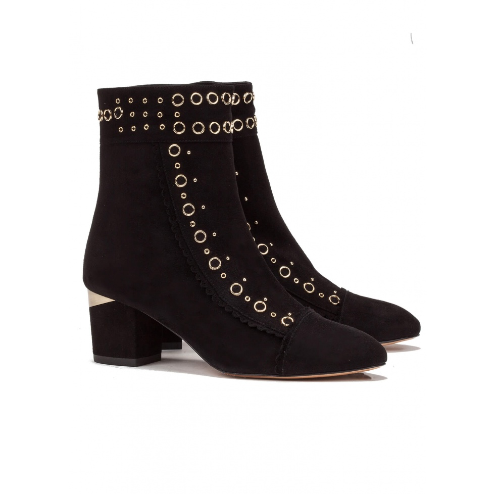 Mid heel ankle boot in black suede - online shoe store Pura Lopez