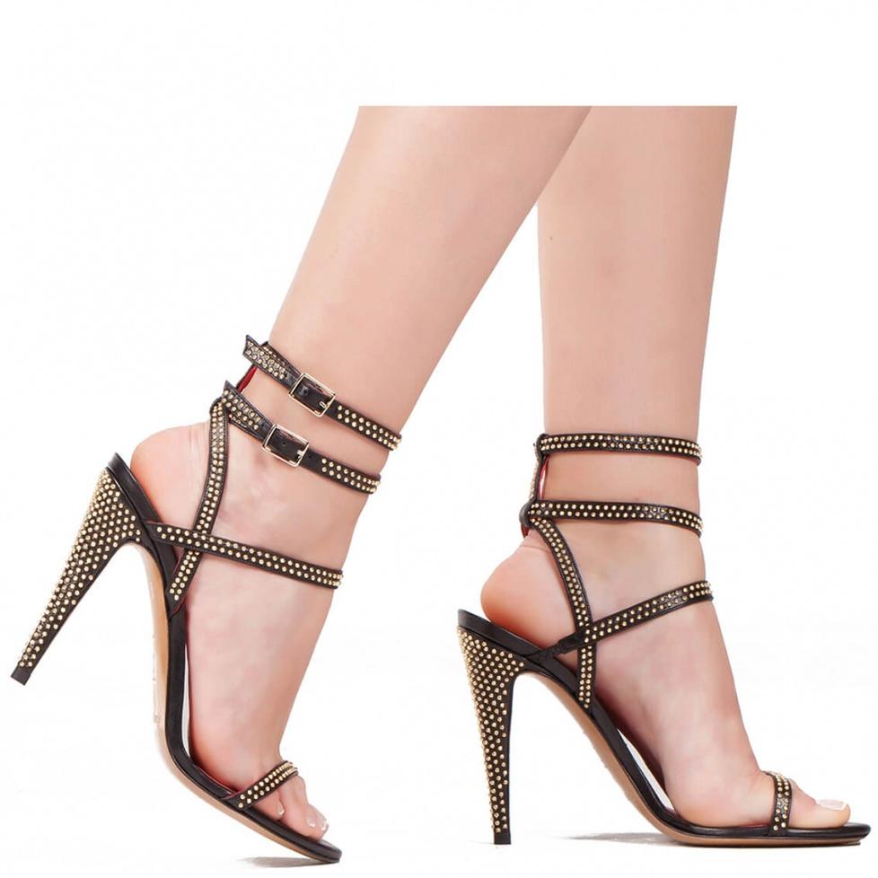 Sandalia negra de tacón alto en piel - tienda de zapatos Pura López