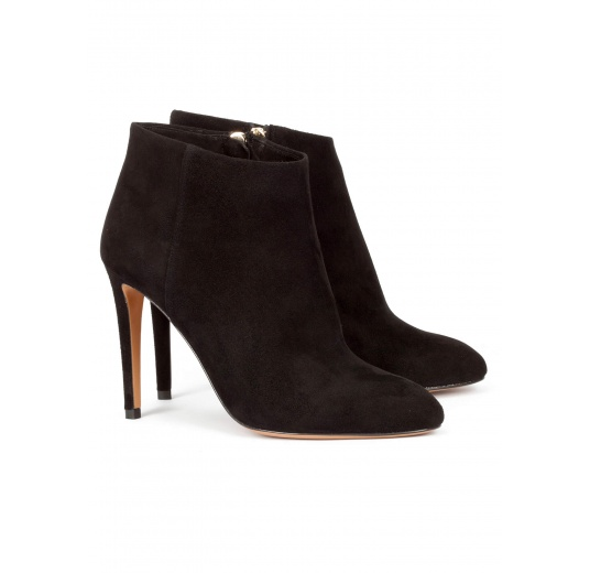High stiletto heel ankle boots in black suede Pura L�pez