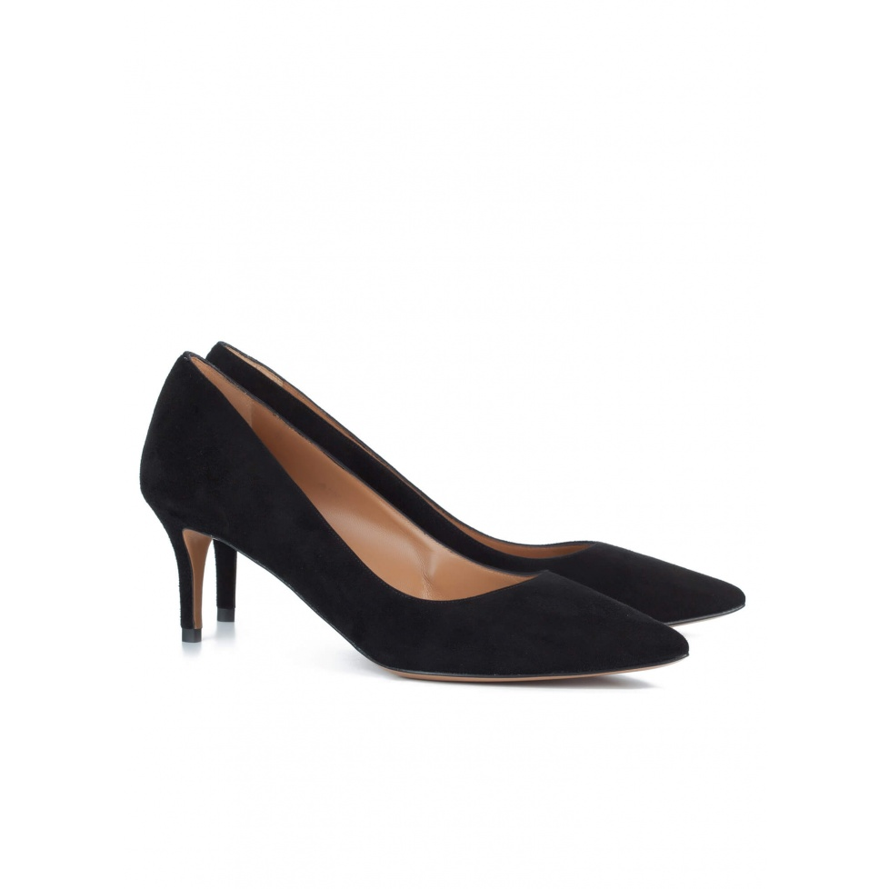 Mid heel pumps in black suede