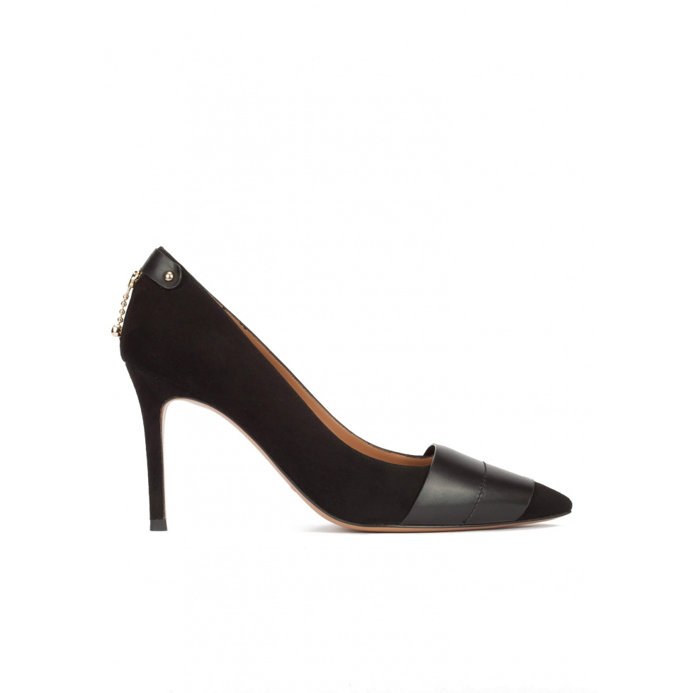 Black suede and leather pointy toe heeled pumps