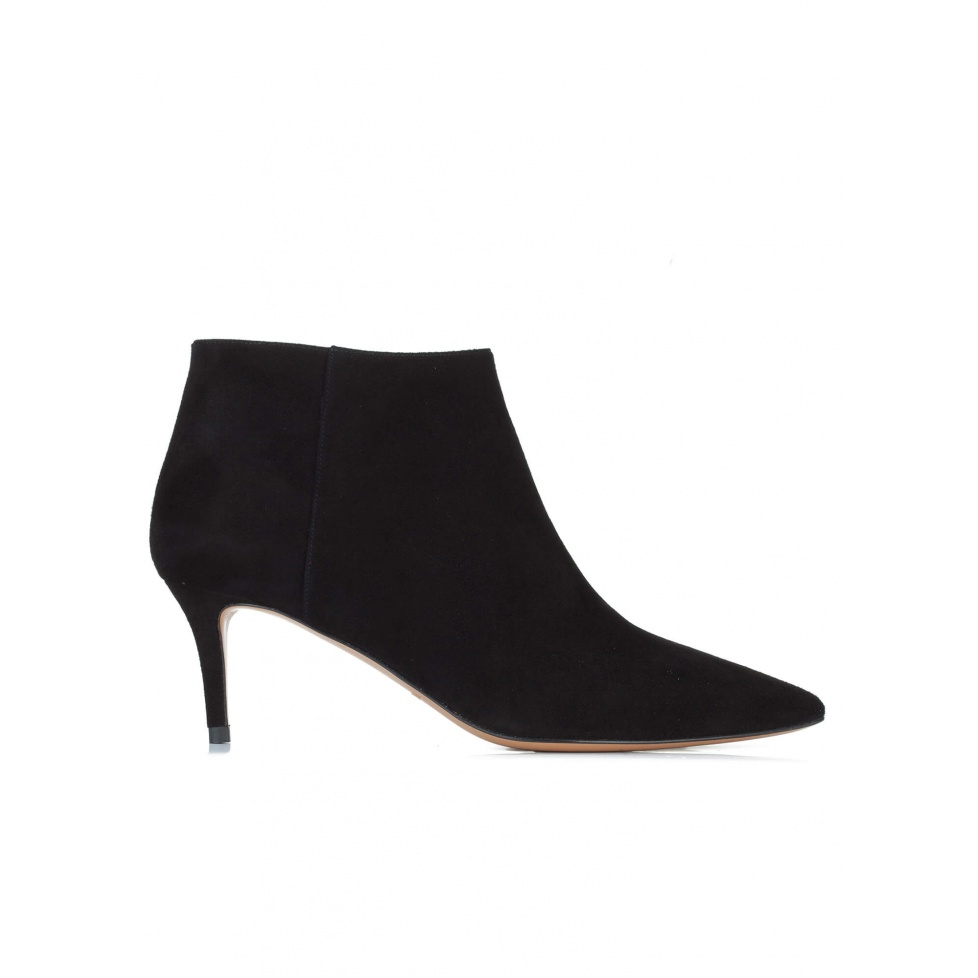 Black suede pointy toe ankle boots