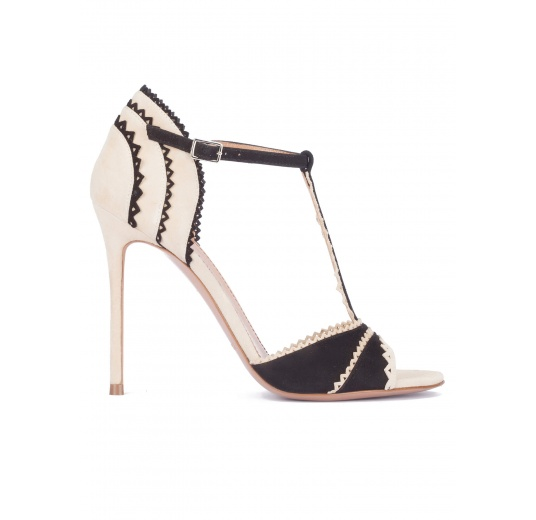 Two-tone scalloped high heel sandals Pura L�pez