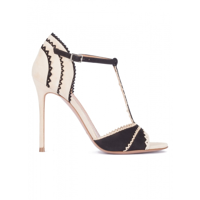 Two-tone scalloped high heel sandals