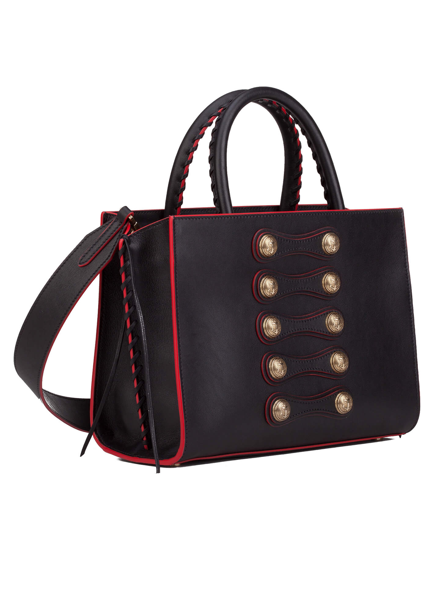 On Detailed Bag In Black Leather Official Pura Lopez