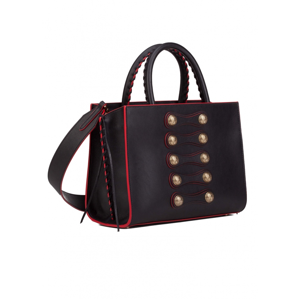 Button detailed bag in black leather - Official Store Pura Lopez