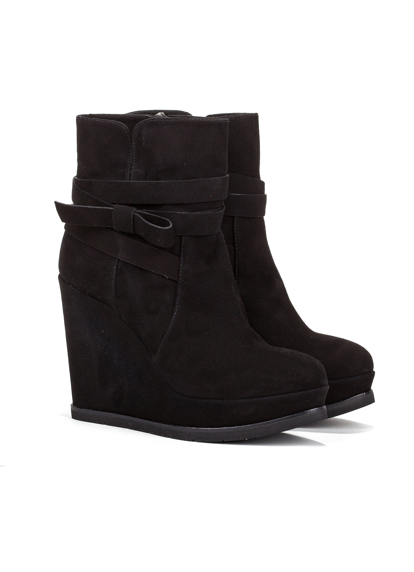 wedge ankle boots in black suede shoe store pura