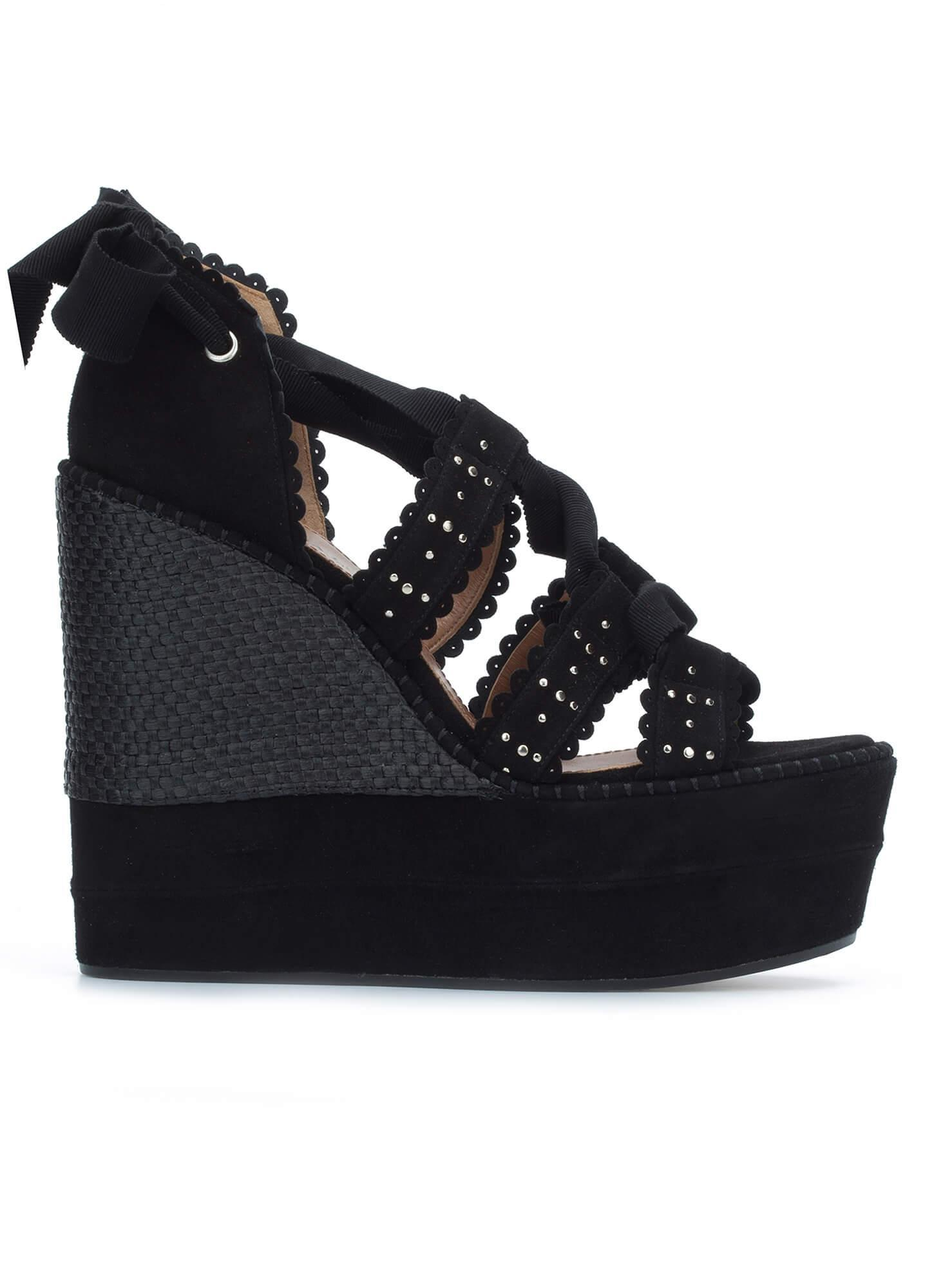 34a40f47387d Lace-up wedge sandals in black suede - online shoe store Pura Lopez ...
