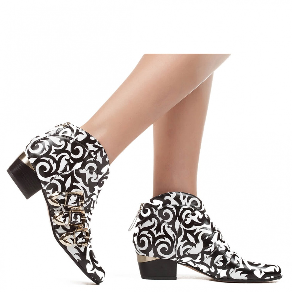 Mid heel ankle boot in print leather - online shoe store Pura Lopez