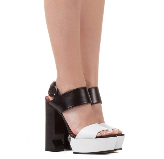 Platform high block heel sandals in black and white leather Pura L�pez