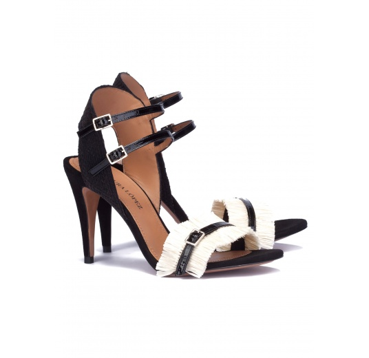 Black-white heeled sandals Pura L�pez
