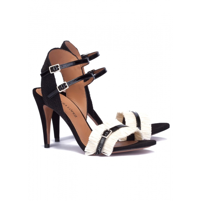 Two-tone sandals in raffia- online shoe store Pura Lopez
