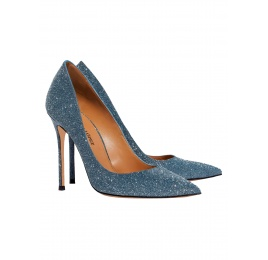 High heel pumps in blue glitter Pura López