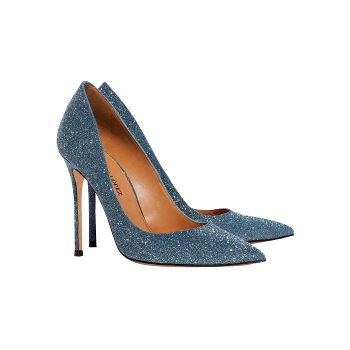 High heel pumps in blue glitter - online shoe store Pura Lopez