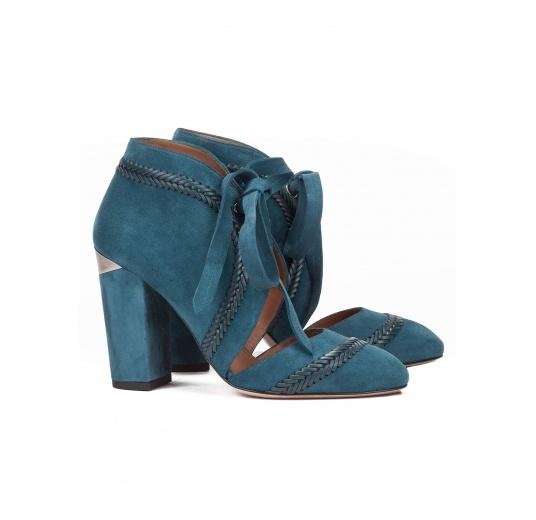 Zapatos de tacón alto en ante azul petróleo con cordones Pura López