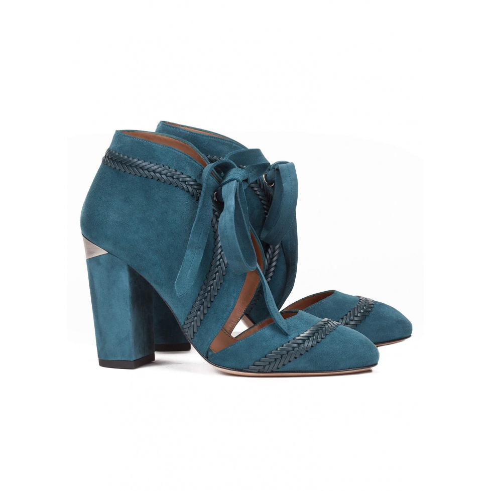 Blue lace-up high heel shoes - online shoe store Pura Lopez