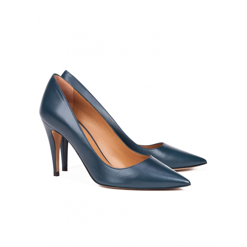 High heel pumps in blue leather - online shoe store Pura Lopez