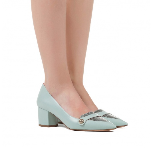 Mid heel shoes in aquamarine leather and roccia snake leather Pura L�pez