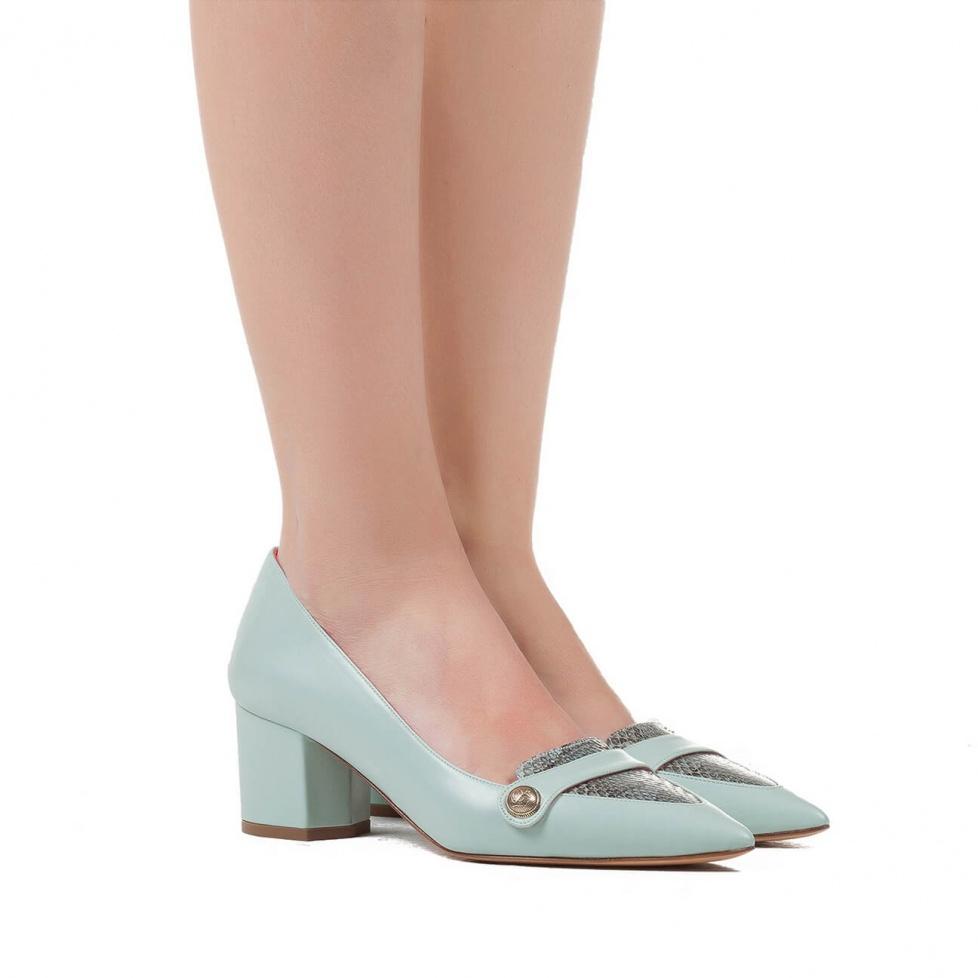 Zapatos de tacón medio en aguamarina - tienda de zapatos Pura López