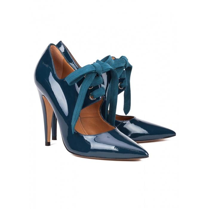 Blue patent lace-up high heel shoes - online shoe store Pura Lopez