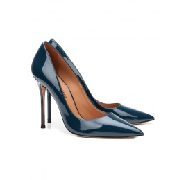 High heel pumps in petrol blue patent leather Pura López