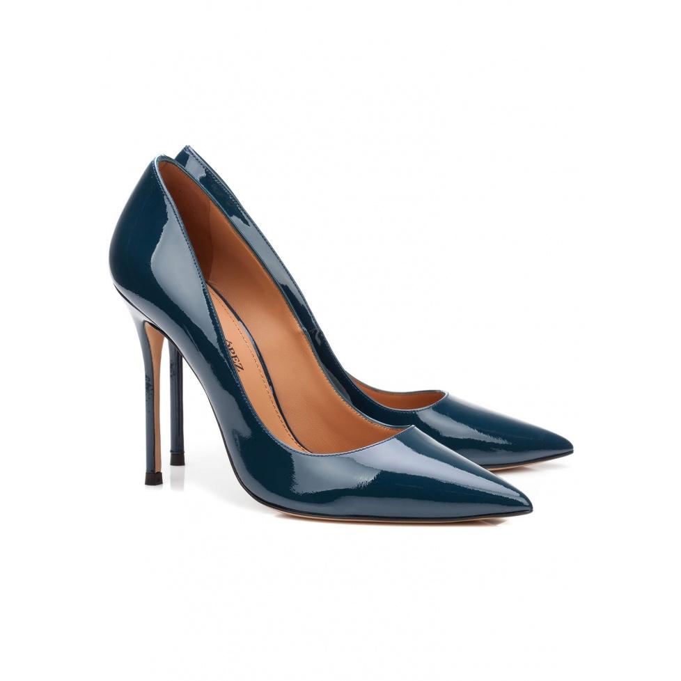 High heel pumps in blue patent - online shoe store Pura Lopez