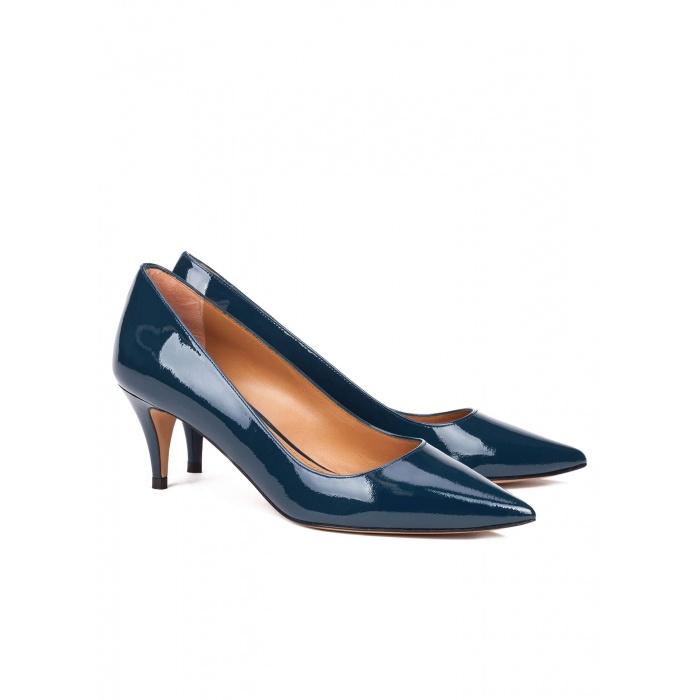 Mid heel pumps in petrol blue - online shoe store Pura Lopez