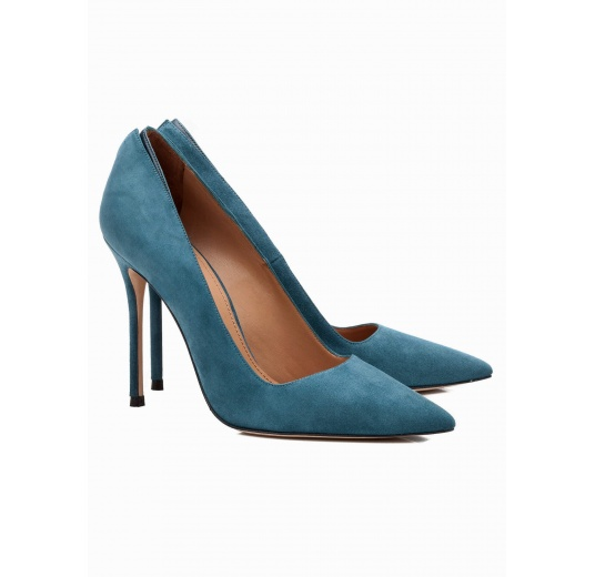 High heel pumps in petrol blue suede Pura L�pez