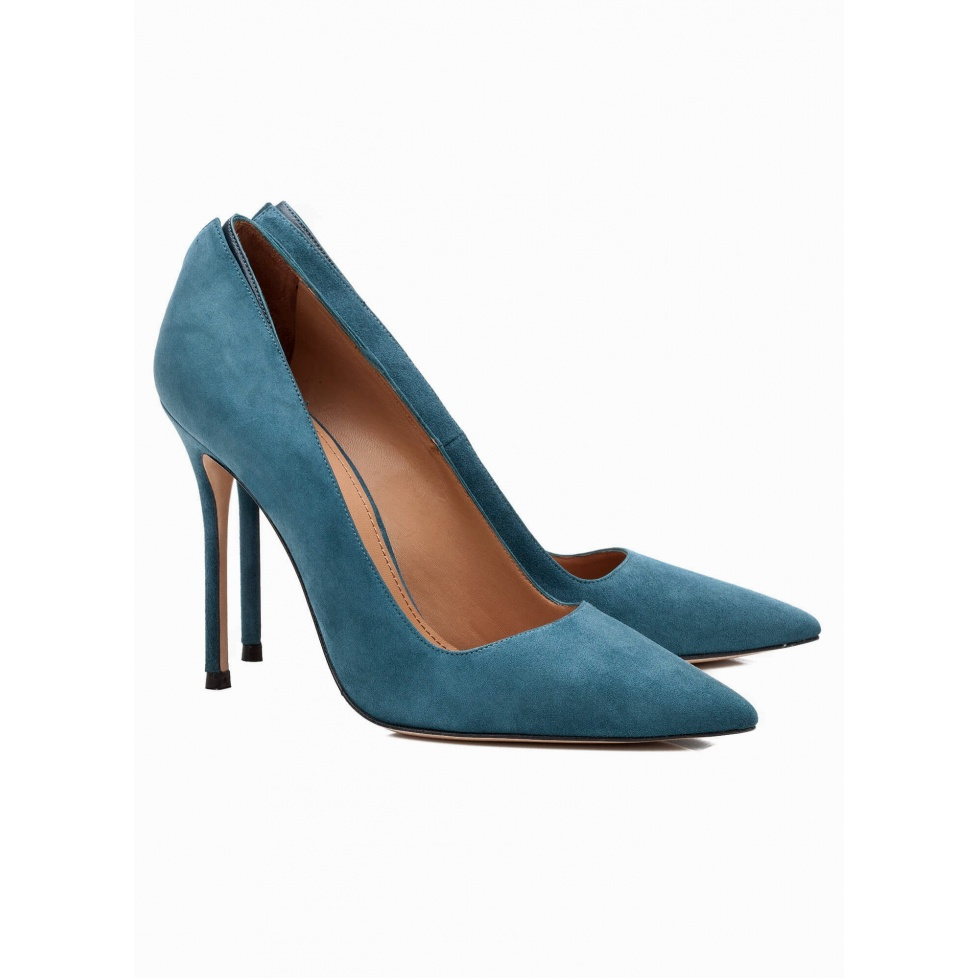 High heel pumps in petrol blue suede - online shoe store Pura Lopez