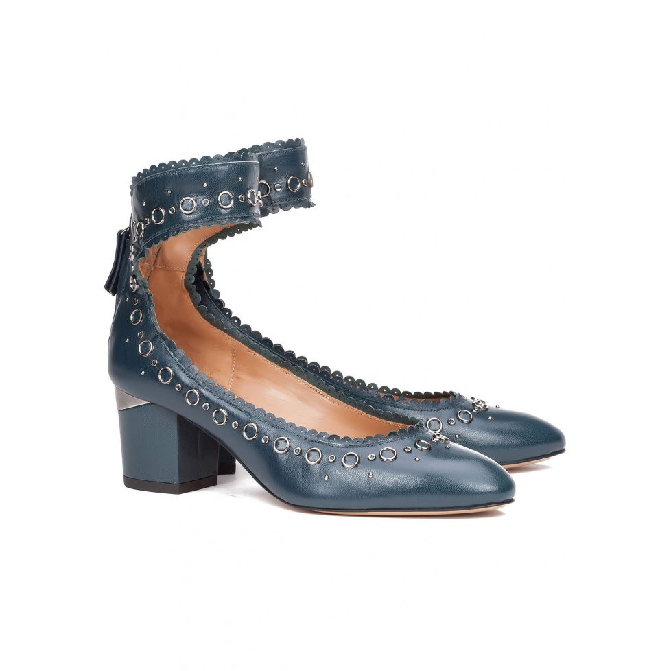 Mid heel shoes in blue leather - online shoe store Pura Lopez